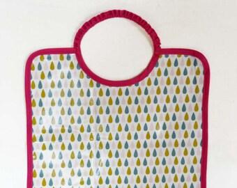 Grand bavoir en coton enduit imperméable motif gouttes pluie rose moutarde gris bébé enfant fille