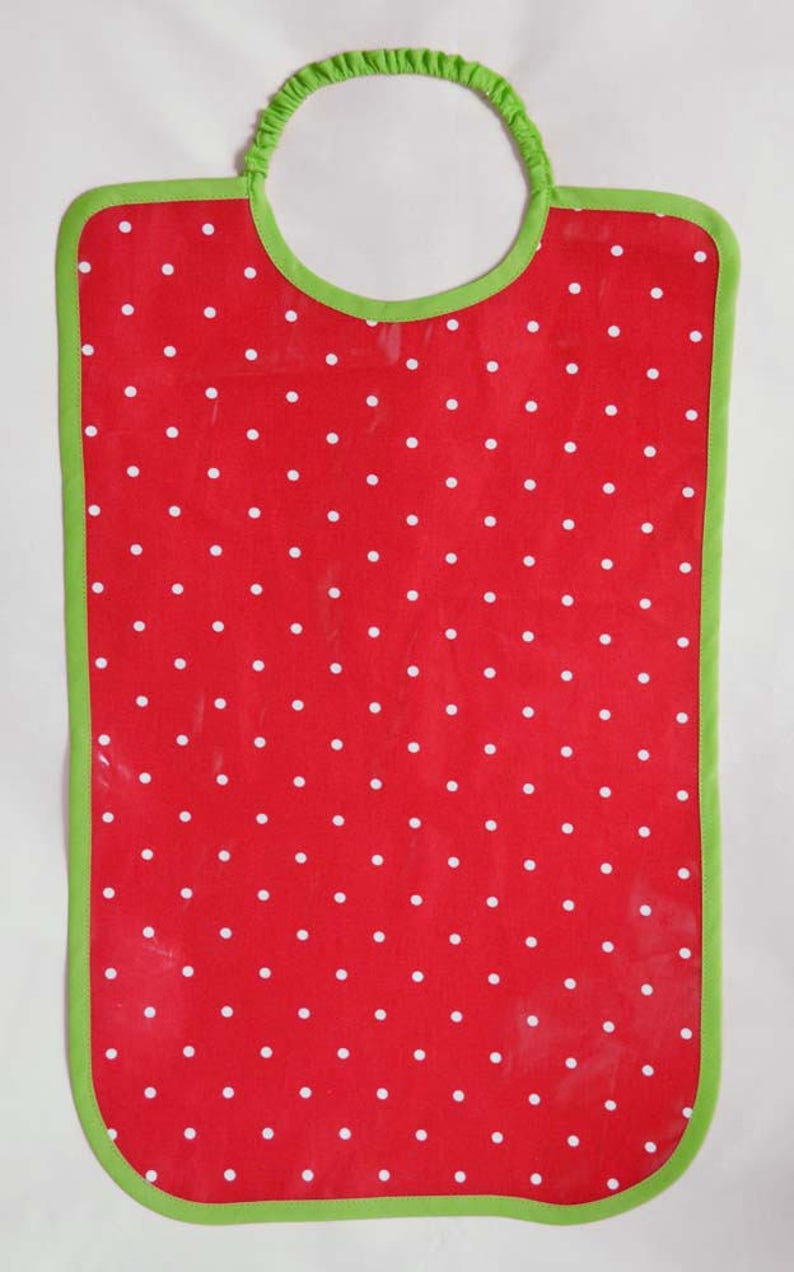 Large bib super convenient cotton coated with polka dots pink image 0