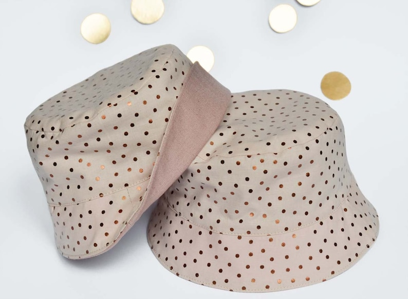 Hat lined in cotton Nude pink cotton polka dot copper copper Nude Summer Hat baby girl Birthday gift old pink