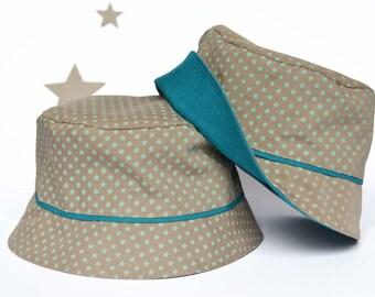 Chapeau de bébé, bob garçon, baby bucket hat, imprimé étoile beige vert bleu canard