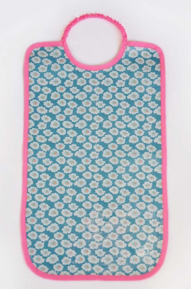 Large coated elastic cotton bib printed Petit Pan floral blue image 0