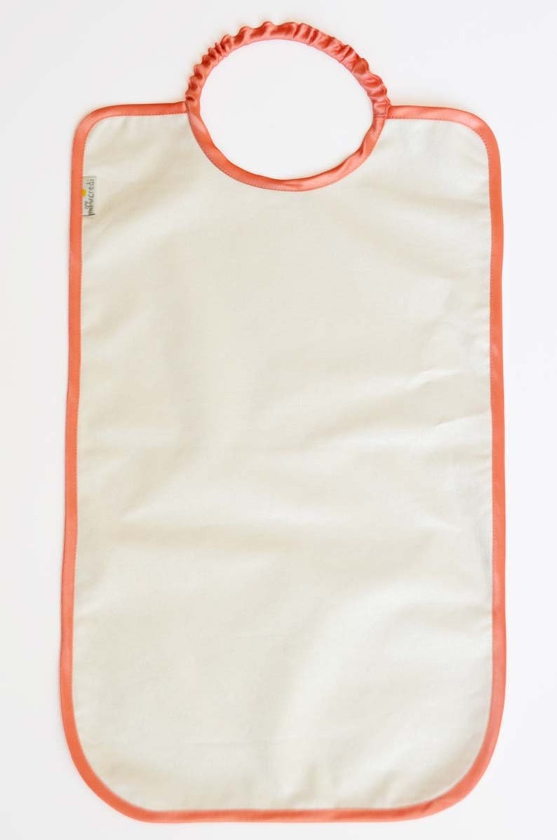 Large white bib Pearl coated cotton elastic for girl coral image 0