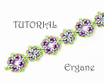 SuperDuo Bracelet Tutorial, Beading tutorial, bracelet tutorial, beading pattern, beaded bracelet tutorial, Ergane Beading