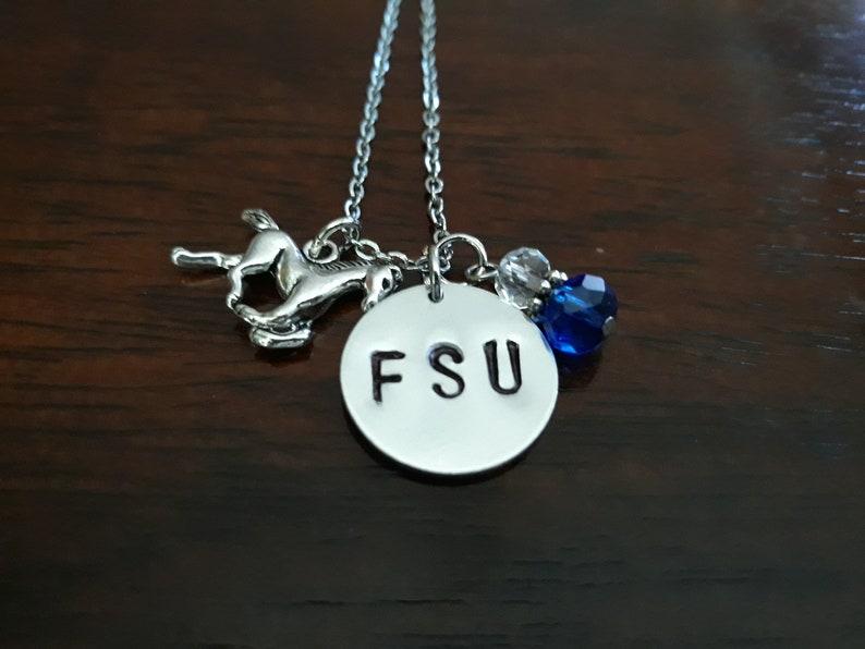 Necklace FSU Necklace Silver Stainless Steel Necklace Fayetteville State University Necklace FSU Charms