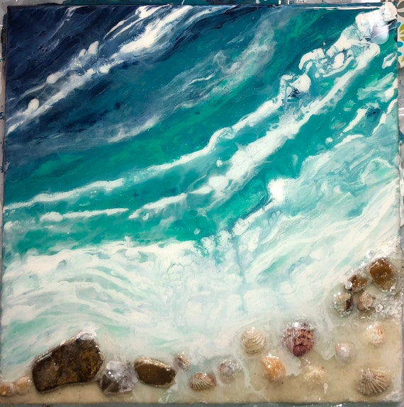 sea shells beach Original 3D abstract textured pour painting ocean