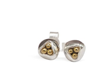 Tiny Silver stud modern earrings with 3 Gold beads, suitable for all occasions. Enduring Birthday or special occasion gift for woman.