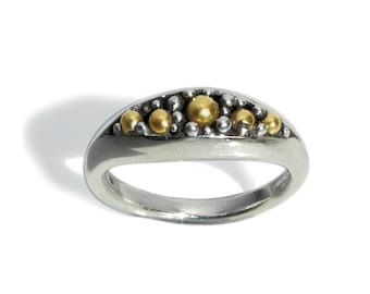 Contemporary Silver Ring with 18 karat gold.Modern Fine jewelry. Studio designer jewelry. Pamela Dickinson. Unique gift for special woman.