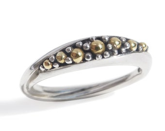Modern mixed metal Silver/Gold ring. Alternative wedding band. Birthday or special gift to treasure. Unique art jewel skilfully made.