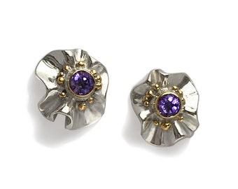 Silver, Gold & Gemstone earrings. Modern designer jewellery. Amethyst, Peridot, Garnet. Fine jewelry. Unique gift for special woman. Artwork
