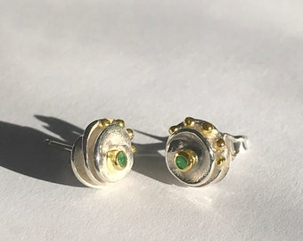 Precious, small earrings. A gift to wear and treasure.Unique modern new design. Silver,gold,ruby,emerald or sapphire.Art jewel. Ready to go.