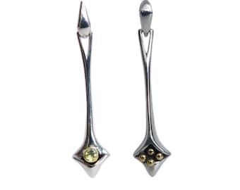 Unusual modern pendant earrings in Silver and 18ct gold with Peridot Amethyst Iolite Garnet or Citrine. Reversible design. Pamela Dickinson.