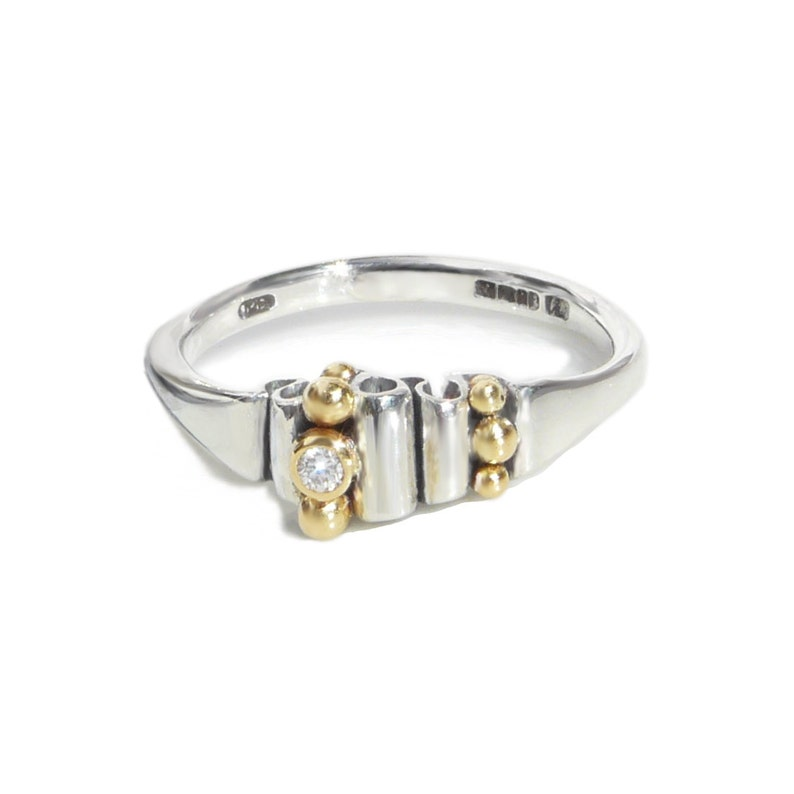 Alternative engagement ring. Silver with 18kt gold and image 0