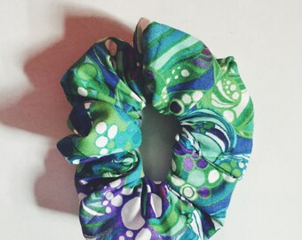 Green Patterned Scrunchie