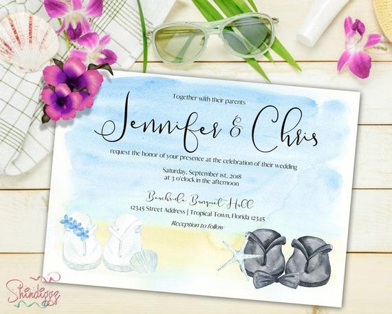 Beach Wedding Invitation Suite Wedding Invitation Printable Etsy