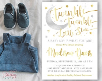 Twinkle Twinkle Shower Invitation, Little Star Shower Invitation, Twinkle Twinkle Little Star, Baby Boy Shower Invitation