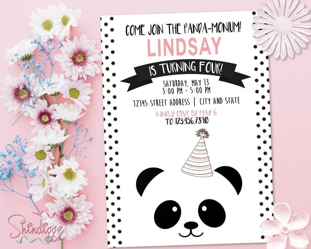 Panda Birthday Party Invitation Panda-Monium Birthday Party | Etsy