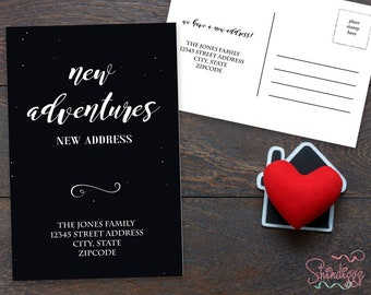 New Home Announcement Postcard, Moving Announcement Cards, New Address, Printable, Template, New House, New Adventures