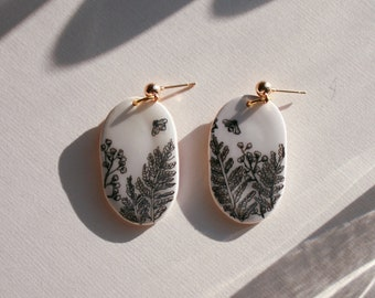 Ink Fern Bee Polymer Clay Earrings Hexagon Statement Earring Floral Botanical Hypoallergenic Minimalist Eco Friendly Packaging Hand Painted