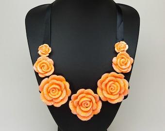 Orange Black Bib statement flower roses pendant satin bow necklace jewelry,Short necklace,orange necklace,Necklace for mother, birthday gift