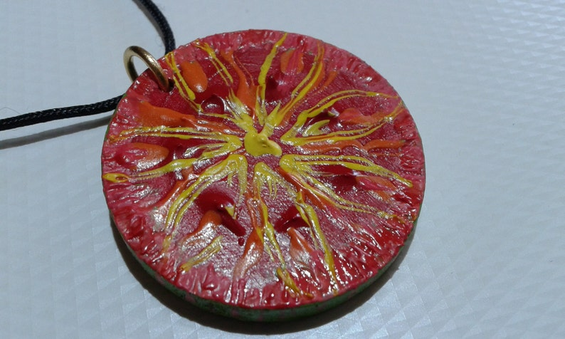 One and only necklace Dangerous fruit,Original painting on wood,acrylic paint,extremely special jewelry,Painting pendant necklace,gift idea