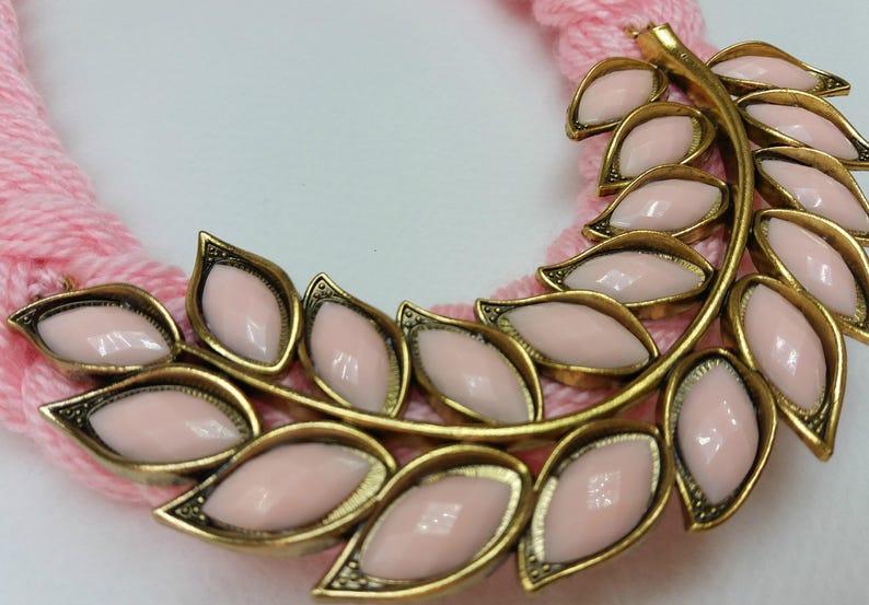 Pink necklace,Summer necklace Leaf necklace,Light pink gold leaf necklace,Pink and gold necklace Total pink knitted bib statement necklace