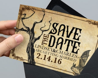 Gothic Save The Date Etsy