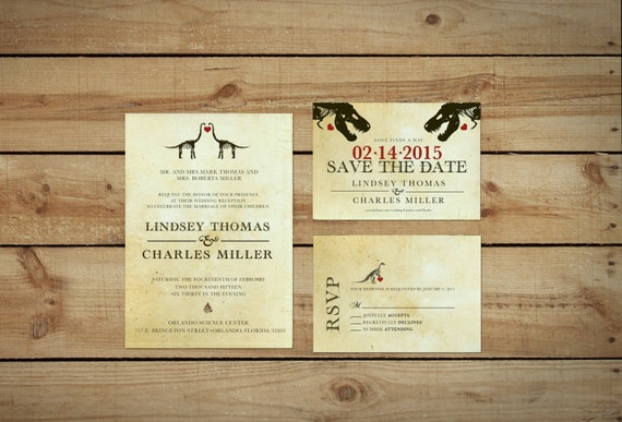 Dinosaur Wedding Invitation Kit Printable Etsy