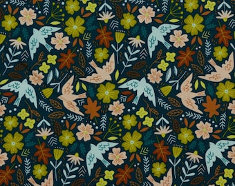 Milleraies Velvet fabric 100% cotton printed flowers and birds on the dark blue background - 50 cm