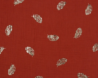 Double gauze cotton fabric printed golden feathers tomette - 50 cm