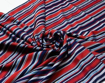 Soft viscose fabric red and blue stripes - 50 cm