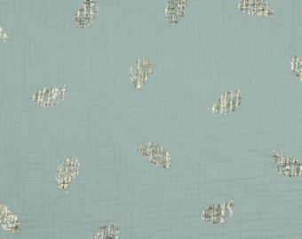 Double gauze cotton fabric printed golden feathers water green - 50 cm