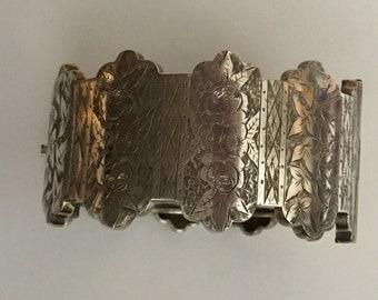 Antique Victorian Wide Silver Bangle/Bracelet with Ornate Design - c1880