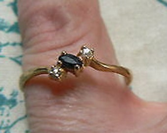 Tiny & Elegant Vintage French 18ct Rolled Gold with Black and White Paste Stones