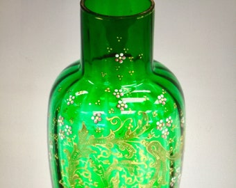 Antique Large GREEN GLASS Hand Painted Vase