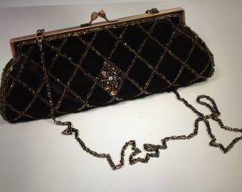 ddc67e34ed Vintage CARLO FELLINI Brown Bronze Beaded Embellished Metal Frame Evening  Handbag
