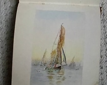 Vintage Autograph Book - faux leather - with watercolours, rhymes and quotes - 1930's - 1940's