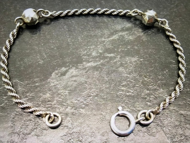 Antique French Silver Rope /& Faceted Ball Link Albertina Bracelet