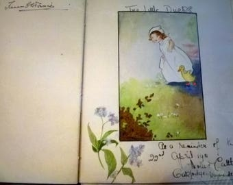 Commonplace book of Nurse Pain with sketch signed Edmond Brock - 1907 to 1970