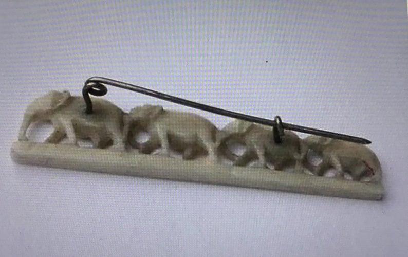 Carved Hand Crafted Bone Bovine 1930/'s African Vintage Brooch