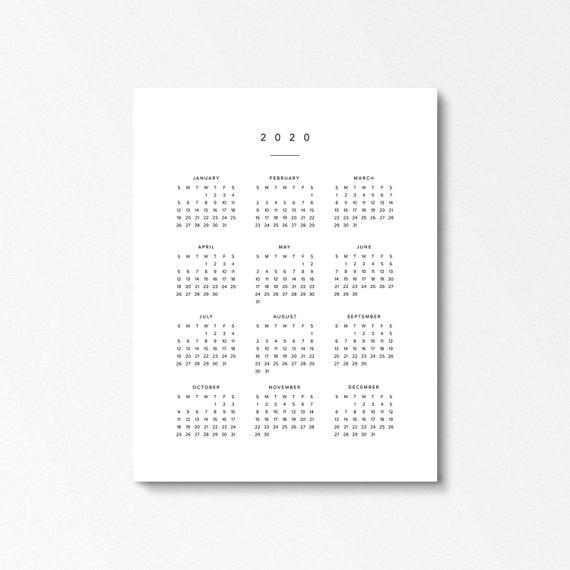 Ano 2020 Calendario.Calendario Anual 2020 Calendario Grande Del Ano Digital En Un Vistazo Domingo Y Lunes De Inicio Calendario De Pared Moderno Planificador Blanco Y