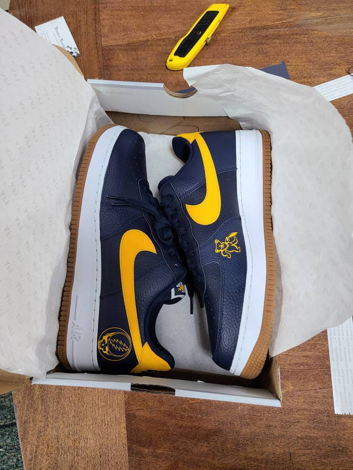 CUSTOM  Dead Air Force 1s navy blue and yellow