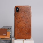 LEATHER iPhone  Xs/ Xs Max / XR / X-10  in Antique Briar Brown Color / Hand carved Geometric leather cover for iPhone 8/8 Plus and  7/7 Plus