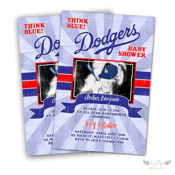 Dodgers Baby Shower Invitations Blank Digital Thank You Card Etsy