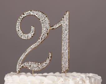 21st Birthday Cake Topper Rhinestone