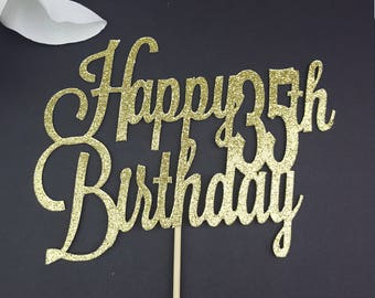 35th Birthday Cake Topper, Glitter Cake Topper, Birthday Topper, Number Topper, Happy Birthday Topper