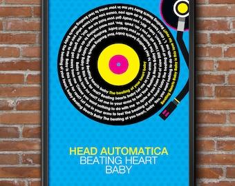 Head Automatica - Beating Heart Baby Song Lyrics Wall Art Poster Print.