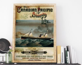 Vintage Canada Travel Poster: Shipping Canadian Pacific Steamship Line Travel Art Print