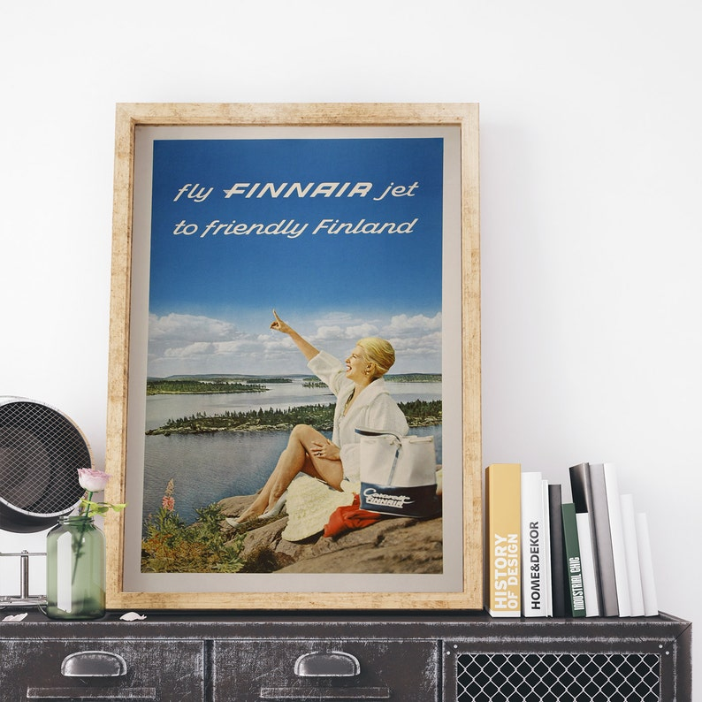 Vintage Finnair Flights to Finland Poster A3//A4 Print