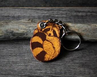 Baby raccoon - genuine leather keychain