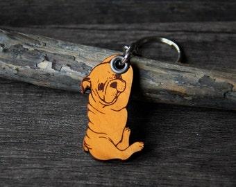 Baby english bulldog - genuine leather keychain